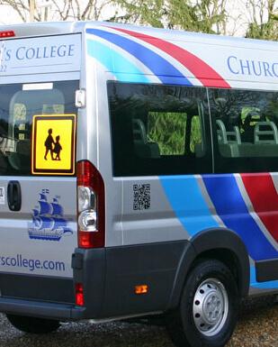 college-mini-bus-sign